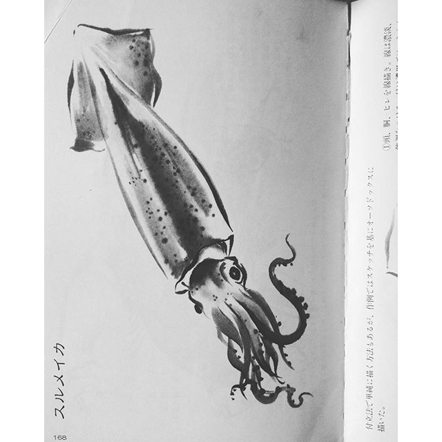 #drawing #Sumi-e hand painting #practice #lessons for #boards #squid #cuttlefish #art