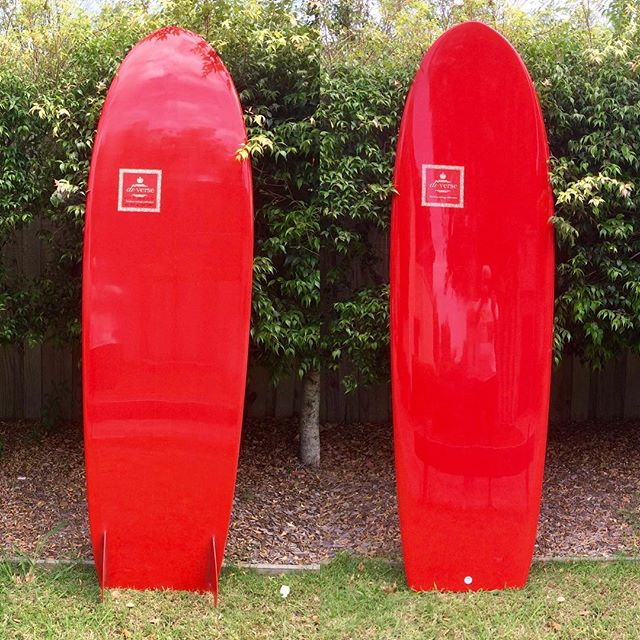 #minisimmons #twinfin #red #resincolour #glasson #aussiemade #customsurfboards